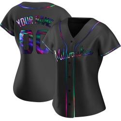 Custom Milwaukee Brewers Women's Replica Alternate Jersey - Black Holographic