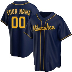 Custom Milwaukee Brewers Youth Replica Alternate Jersey - Navy
