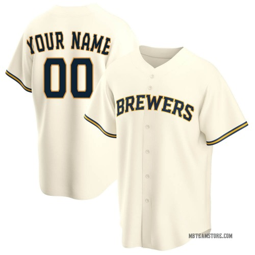 Custom Milwaukee Brewers Youth Replica Home Jersey - Cream