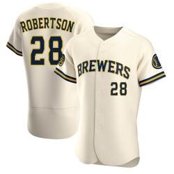 Daniel Robertson Milwaukee Brewers Men's Authentic Home Jersey - Cream