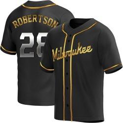 Daniel Robertson Milwaukee Brewers Men's Replica Alternate Jersey - Black Golden