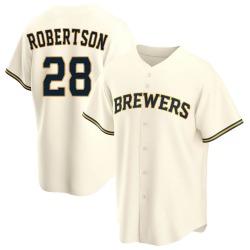 Daniel Robertson Milwaukee Brewers Youth Replica Home Jersey - Cream