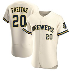 David Freitas Milwaukee Brewers Men's Authentic Home Jersey - Cream
