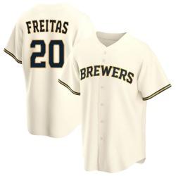 David Freitas Milwaukee Brewers Men's Replica Home Jersey - Cream