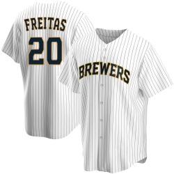 David Freitas Milwaukee Brewers Men's Replica Home Jersey - White