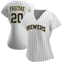 David Freitas Milwaukee Brewers Women's Authentic /Navy Alternate Jersey - White