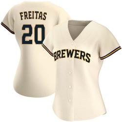 David Freitas Milwaukee Brewers Women's Authentic Home Jersey - Cream