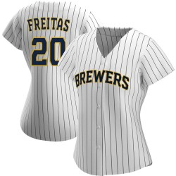 David Freitas Milwaukee Brewers Women's Replica /Navy Alternate Jersey - White