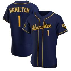 David Hamilton Milwaukee Brewers Men's Authentic Alternate Jersey - Navy