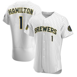 David Hamilton Milwaukee Brewers Men's Authentic Alternate Jersey - White