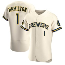 David Hamilton Milwaukee Brewers Men's Authentic Home Jersey - Cream