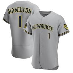 David Hamilton Milwaukee Brewers Men's Authentic Road Jersey - Gray