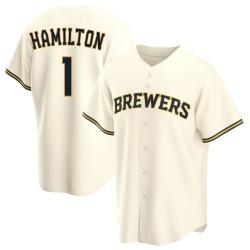 David Hamilton Milwaukee Brewers Men's Replica Home Jersey - Cream