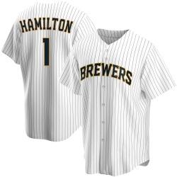 David Hamilton Milwaukee Brewers Men's Replica Home Jersey - White