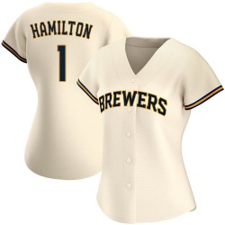 David Hamilton Milwaukee Brewers Women's Authentic Home Jersey - Cream