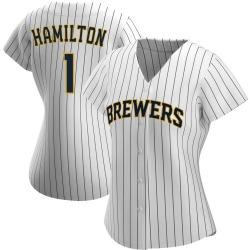 David Hamilton Milwaukee Brewers Women's Replica /Navy Alternate Jersey - White