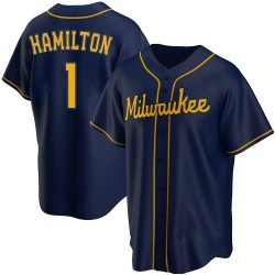 David Hamilton Milwaukee Brewers Youth Replica Alternate Jersey - Navy