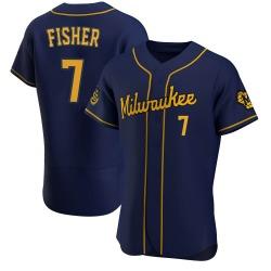 Derek Fisher Milwaukee Brewers Men's Authentic Alternate Jersey - Navy