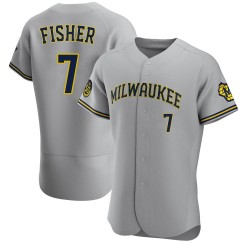 Derek Fisher Milwaukee Brewers Men's Authentic Road Jersey - Gray