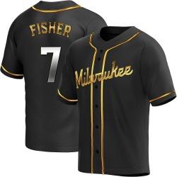Derek Fisher Milwaukee Brewers Men's Replica Alternate Jersey - Black Golden