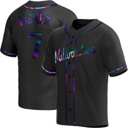 Derek Fisher Milwaukee Brewers Men's Replica Alternate Jersey - Black Holographic