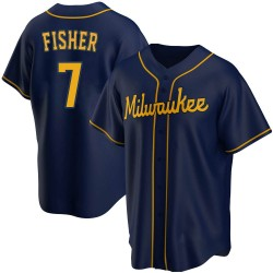 Derek Fisher Milwaukee Brewers Men's Replica Alternate Jersey - Navy