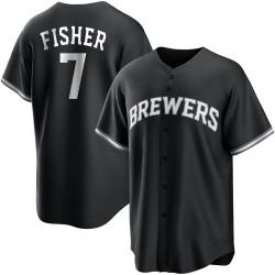 Derek Fisher Milwaukee Brewers Men's Replica Black/ Jersey - White
