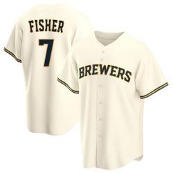 Derek Fisher Milwaukee Brewers Men's Replica Home Jersey - Cream
