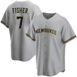 Derek Fisher Milwaukee Brewers Men's Replica Road Jersey - Gray
