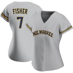 Derek Fisher Milwaukee Brewers Women's Authentic Road Jersey - Gray