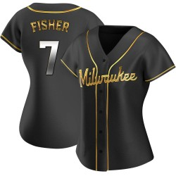 Derek Fisher Milwaukee Brewers Women's Replica Alternate Jersey - Black Golden