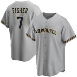 Derek Fisher Milwaukee Brewers Youth Replica Road Jersey - Gray