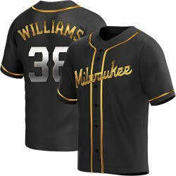 Devin Williams Milwaukee Brewers Youth Replica Alternate Jersey - Black Golden