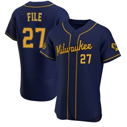 Dylan File Milwaukee Brewers Men's Authentic Alternate Jersey - Navy