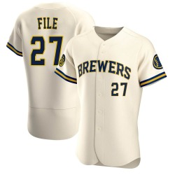 Dylan File Milwaukee Brewers Men's Authentic Home Jersey - Cream