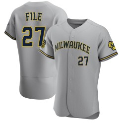 Dylan File Milwaukee Brewers Men's Authentic Road Jersey - Gray