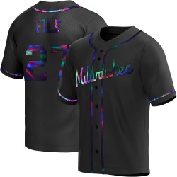 Dylan File Milwaukee Brewers Men's Replica Alternate Jersey - Black Holographic