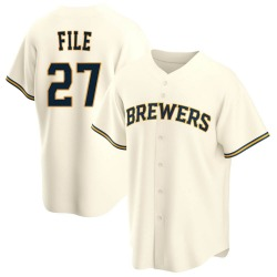 Dylan File Milwaukee Brewers Men's Replica Home Jersey - Cream