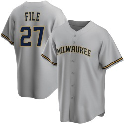 Dylan File Milwaukee Brewers Men's Replica Road Jersey - Gray