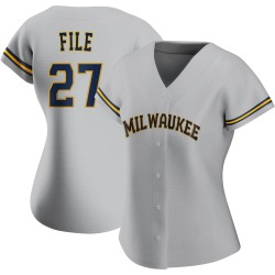 Dylan File Milwaukee Brewers Women's Authentic Road Jersey - Gray