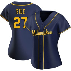 Dylan File Milwaukee Brewers Women's Replica Alternate Jersey - Navy