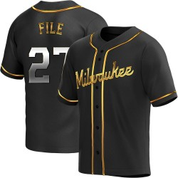 Dylan File Milwaukee Brewers Youth Replica Alternate Jersey - Black Golden
