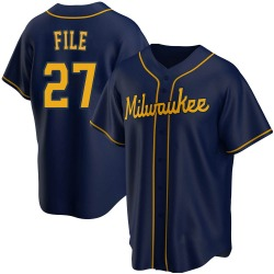Dylan File Milwaukee Brewers Youth Replica Alternate Jersey - Navy