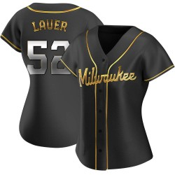Eric Lauer Milwaukee Brewers Women's Replica Alternate Jersey - Black Golden