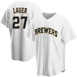 Eric Lauer Milwaukee Brewers Youth Replica Home Jersey - White