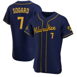 Eric Sogard Milwaukee Brewers Men's Authentic Alternate Jersey - Navy