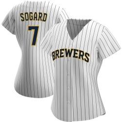 Eric Sogard Milwaukee Brewers Women's Authentic /Navy Alternate Jersey - White