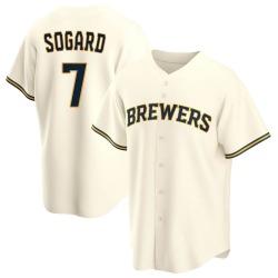 Eric Sogard Milwaukee Brewers Youth Replica Home Jersey - Cream