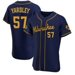 Eric Yardley Milwaukee Brewers Men's Authentic Alternate Jersey - Navy