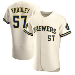 Eric Yardley Milwaukee Brewers Men's Authentic Home Jersey - Cream